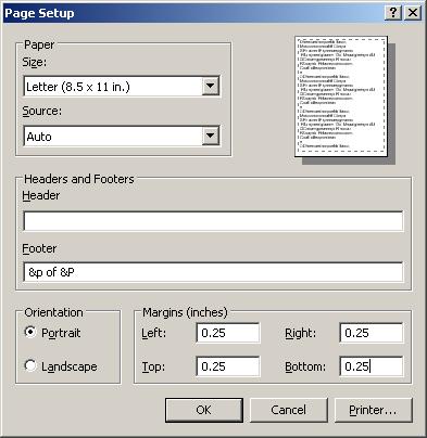 Internet Explorer Page Setup