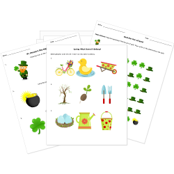 Printable St. Patrick's Day, Easter, and Spring Worksheets