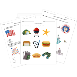 Memorial Day, Independence Day, and Summer Worksheets